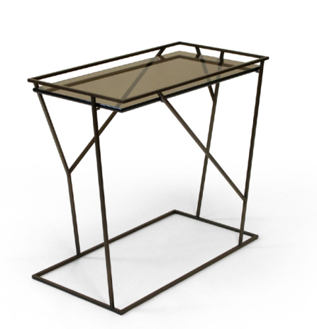 End Table Matte Bronze w Bronze glass