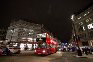 An_iconic_London_double_decker_bus_in_Oxford_Circus